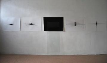 """""""Strutturare i propri pensieri partendo da uno stato di zero assoluto"""", 2011, ink on paper (cm.60x80 each), glass,cm170x44"""