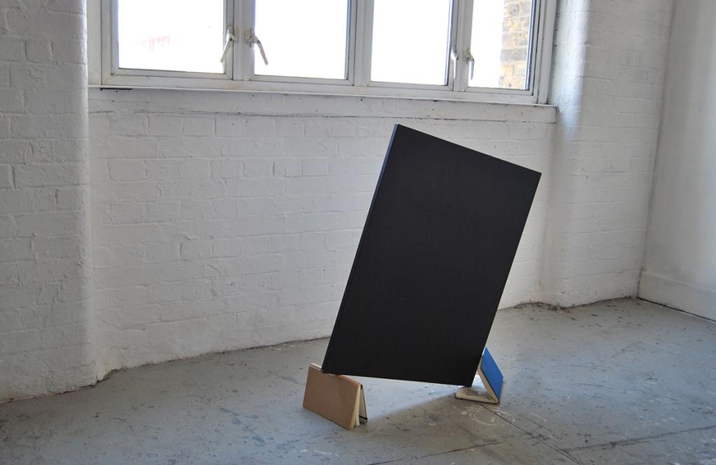 "2_""Still suspended"",sketchbooks,canvas, cm.80x70x40(installation in state of balance).jpg"