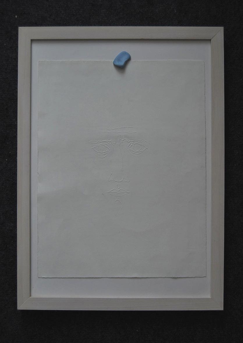 "3_""Self-portrait with blu tack"",paper,blu tack,cm.42x29.7 (framed).jpg"