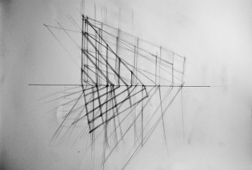 """Studio for:""""Propagazione della luce all'interno del mio studio"""", ink and pencil on paper,cm60x80"""