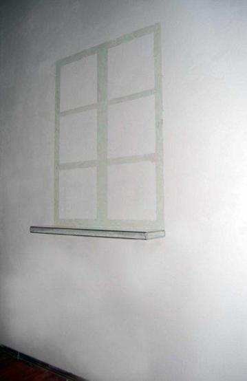 """Window"", 2008,Intervention on wall,glass box, overall size cm.200x80x18"