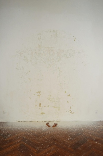 """Identita' nascosta"",2008-09,Intervention on wall, dimensions variable"