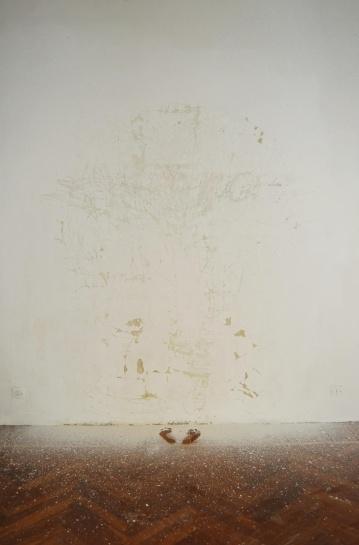 """Identita' nascosta"",2008-09,Intervention on wall, dimensions variable"