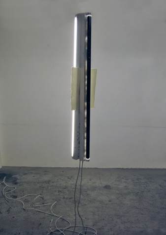 """""""Self-portrait between day and night"""",Installation,fluorescent lights,drypoint on paper,cm.""""120x20x35"""""""