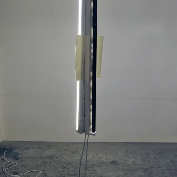 """Self-portrait between day and night"",Installation,fluorescent lights,drypoint on paper,cm.""120x20x35"""