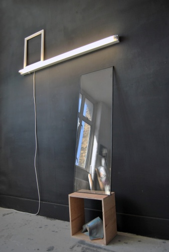 """""""Become something else"""",2013,Installation,fluorescent light,canvas,frame,part of the window,box,cm.""""200x120x40"""""""