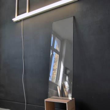 """Become something else"",2013,Installation,fluorescent light,canvas,frame,part of the window,box,cm.""200x120x40"""