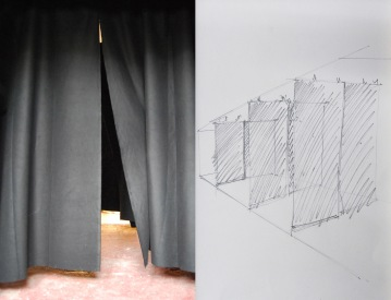 """""""One way"""", Installation,theatre curtains (cotton fabric) repeated three times_2014 variable dimensions"""