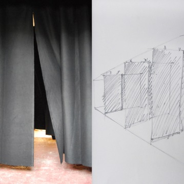 """One way"", Installation,theatre curtains (cotton fabric) repeated three times_2014 variable dimensions"