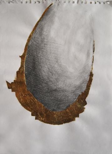 """project for """"Souvenir"""",2009,pencil, gold leaf on paper,cm29.7x21"""
