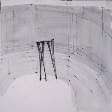 "studio per: ""Spazio ignoto_"", 2011, guache on paper schoellershammer,cm19,8x19,8"