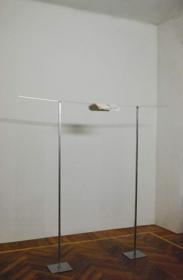 """sospeso"",2010,Installation,metal elements,clear acrylic tube,papers,cm160x158x20"