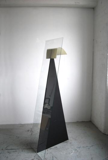 """""""Ricurvo tra un triangolo e un rettangolo"""",2014,Glass,MDF,paper, cm.""""170x44x60"""