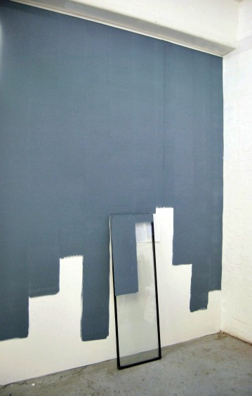 """""""Lost,between the day and night"""",2012-2013, wall painting installation, part of the window,pencil paper"""