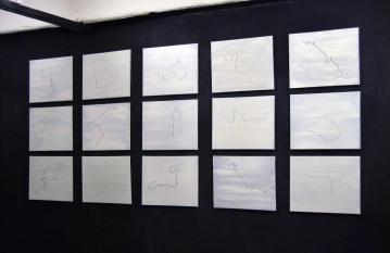 """""""Maps"""",2012-2013,acrylic on canvas,cm.50.8x40.6 each"""