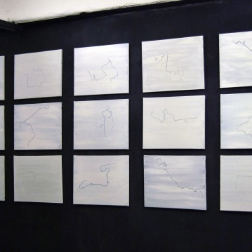 """Maps"",2012-2013,acrylic on canvas,cm.50.8x40.6 each"