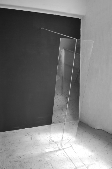 """Fuck you anyway"",2014,Installation,variable dimension,paint on wall,glass,cord"