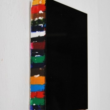 """In the middle"",2010,oil on canvas,glass,cm.28x23x4"