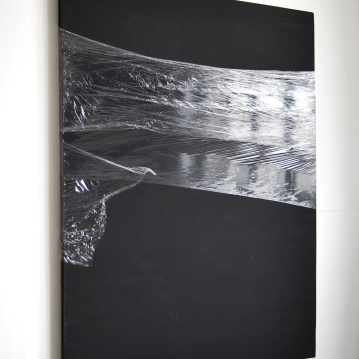 """Remainder"",2014, cling film on canvas"