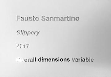 Caption, 2017, adhesive paper mounted on mirror, cm.30x40 unique+1Ap