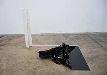 Over the edge (all we have is what is in between hello and goodbye),2016,Installation,acrylic mirror, adhesive black paper, cm.100x70x70