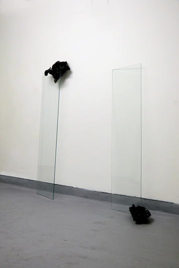 """The day after...the day before yesterday, 2017, Installation, glass element black adhesive paper, cm """"160x150x20"""""""