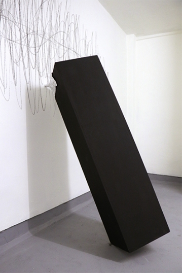 Suspension of disbelief, 2017,installation in state of balance, plinth,foil,cm.130x98x43_on wall: Vibration,graphite on wall cm.220x115