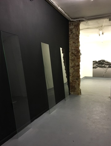 Promenade,2017, Installation dimensions variable, glass elements, black paint on wall