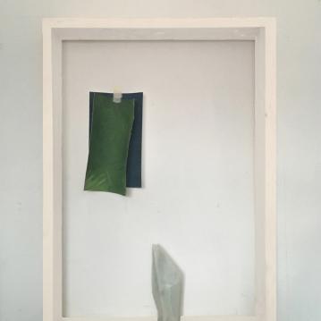 Quando il presente si trova in opposizione al passato prossimo, soapstone, acrylic on canvas and paper, tape (framed) cm.60x80x9